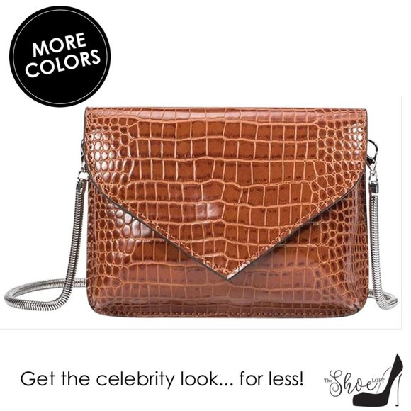 Melie Bianco Handbags - Anna Chain Envelope Saddle Luxury Vegan Leather Cl